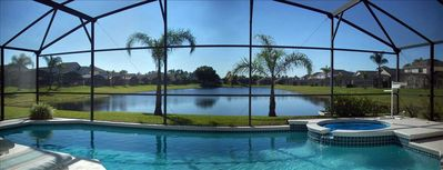 Private South Facing Screened Pool with Spa overlooking Lake