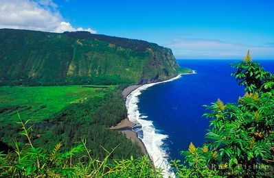 Waipio Lookout and Hawaii's longest volcanic black sand beach