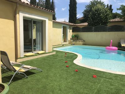 Photo for house with pool, 4 bedrooms, the charm of the old, 10km montpellier