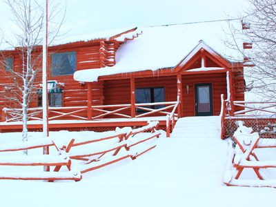 Photo for Gorgeous 3 Bedroom Multi-Level Log Cabin With Grand Teton Views!