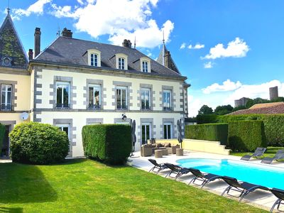 Photo for Renovated Eight Bedroom Petit Chateau with heated Pool In Historic Chalus