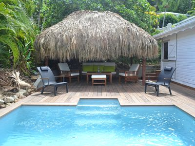Photo for Charming villa private pool hut at 100m cove overlooking Deshaies