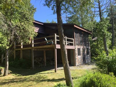 Photo for Book now for summer! Lakefront Adirondack cabin with deck, dock and great views