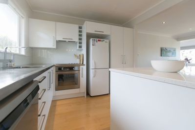 Sky Blue's full modern kitchen, fully equipped