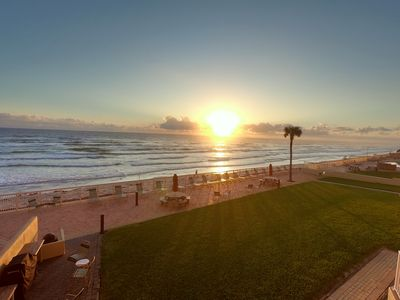 Photo for Daytona Oceanfront Condo - Car Free Beach - owner direct - heated pool - crib