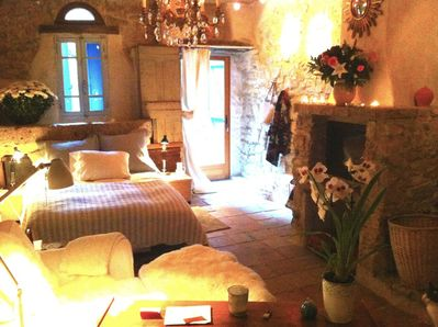Downstairs bedroom has a fireplace and opens to the courtyard entrance.