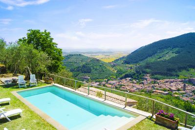10metre pool with Stunning view of the town of Buti below, near restaurants