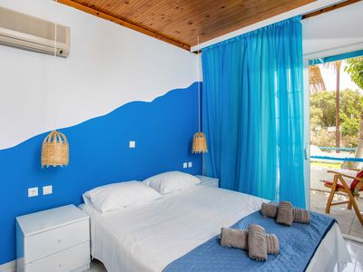 Photo for Blue House next to a Sandy beach Galazio in Falirai.It s a traditional decorate