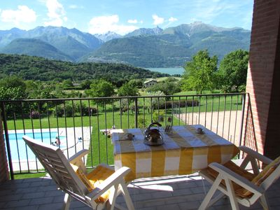 Photo for Apartment on Lake Como with stunning lake views, mountain views, pool u. tennis court
