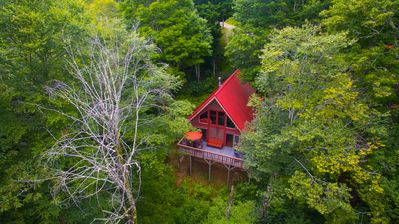 Photo for Secluded Rustic Mountain Cabin within Gated Community w/ Hot Tub, Firepit & View