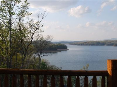Long range lake and mountain views from the lakeside deck