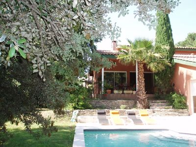 Photo for Beautiful contemporary villa in pine forest near Nimes in residential area