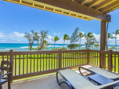 Photo for Kaha Lani Resort #224, Ocean Front, end unit. Fall Special! Sun Rise Views!