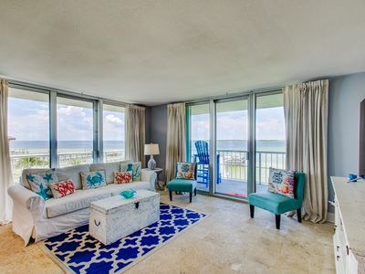 Photo for Nicely-decorated three br w/beautiful views of Sound with wraparound balcony!