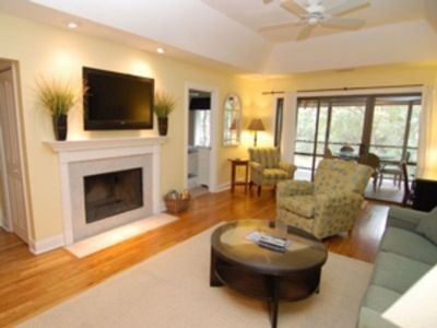 Inviting living room with flat screen TV