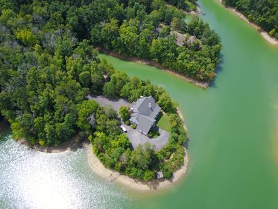 Aerial view of the Lake House & the private & exclusive 5 acre peninsula