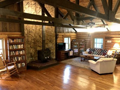 Photo for PRIVATE LOG CABIN RETREAT! Secluded Cabin in Woods with Pond and Bike Trail!