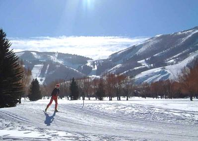 The X Country Ski Course and the Park City slopes from the Patio.