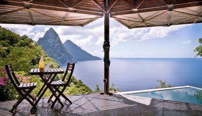 Photo for Romantic studio space overlooking the Piton Mountains and Caribbean Sea