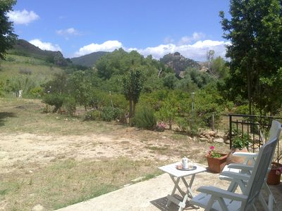 Panorama in front of the house, in the background Calatafimi Segesta and its castle