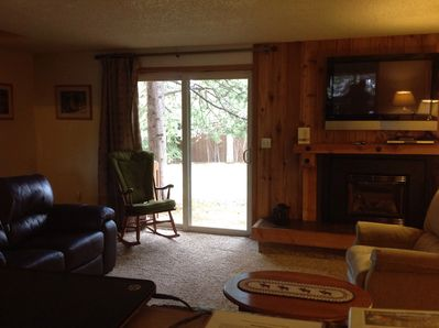 "Living room with new leather furniture/Gas fireplace & 48"" Roku TV & DirectTV"