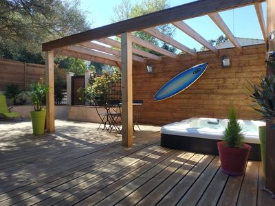 Photo for Chalet with terrace and private jacuzzi 8 minutes walk from the beach and private parking