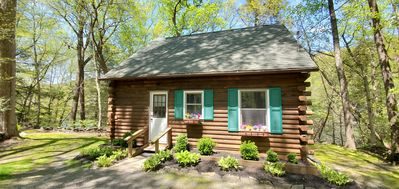 Peaceful and Private Delaware Riverfront Log Cabin.
