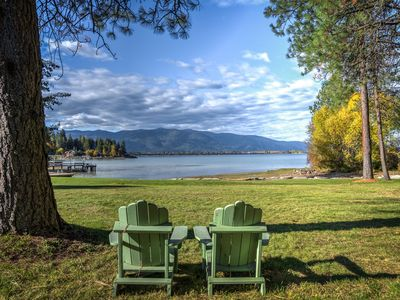 Photo for Lake-Front and Town-Close with Majestic Mountain and Lake Views!