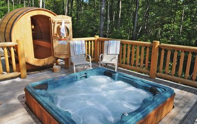 The Private Hot Tub And Rustic Sauna On Home S Deck