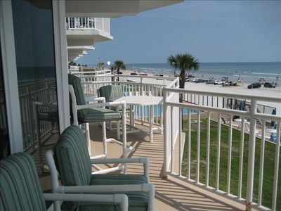Amazing view of the beach and pool area from your large private balcony.