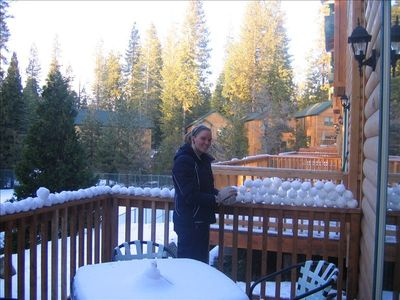 Snowball fights from the deck