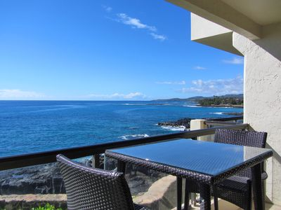 Photo for Poipu Shores 206A Fully Oceanfront 2BR Condo Air Conditioned  Ocean Sunset Views