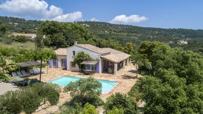 Photo for Air-conditioned villa, sleeps 8, great views, heated pool, near Plan de la Tour