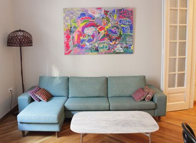 Living room with two metre long sofa