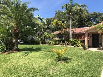 Photo for Tropical Oasis Home, Tiki Hut Pool, Walk to the Beach!