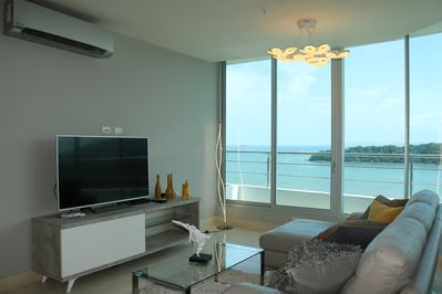 Living room and water view