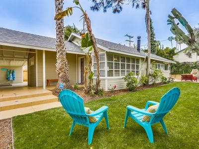 Photo for Modern Beach Bungalow themed home is just blocks from the beach!