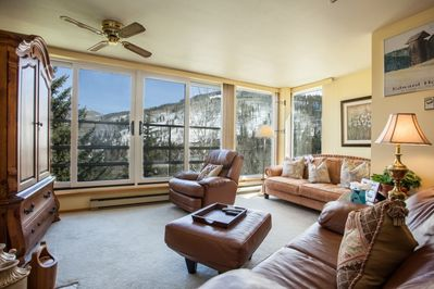 Beautiful, bright south facing mountain views from the living area. No balcony,  outside railing only.