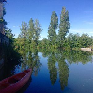 View from our stone jetty. Take the canoe and explore the river.