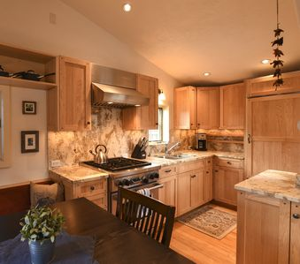 Custom cabinets, Wolf range, marble and counter-tops!