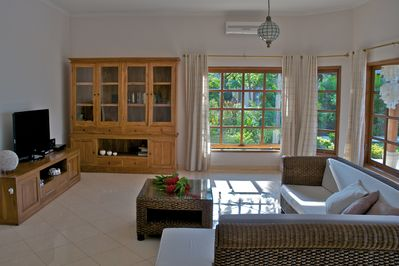 VILLA NIRWANA,  living room with flat screen TV and dvd.