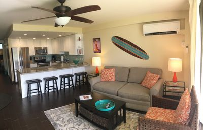 Bright ground floor living room with extra large kitchen