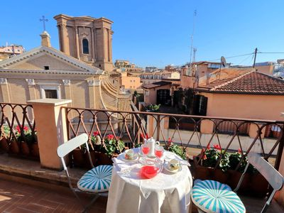 Photo for Perfect Romantic Charming Spanish Steps Penthouse Terrace Views AC Wifi Washer