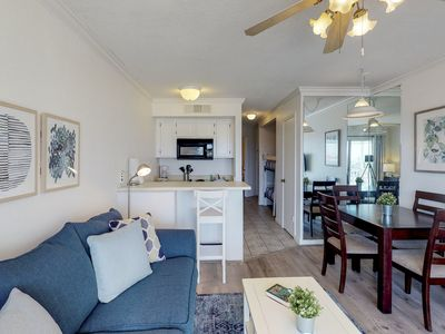Photo for NEW LISTING! Gulf view condo w/balcony, shared pools - beach across the street!