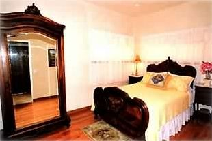 Enjoy the romance of a king bed and accompanying full bathroom