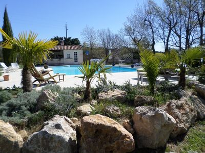 Photo for Between sea and lakes, charming Masset for 2 persons, swimming pool 14. 5 x 6. 5m