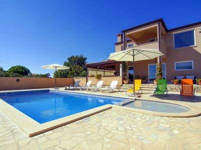 Photo for MODERN VILLA, SEA VIEW, WITH PRIVATE POOL, BBQ area, 750m beach