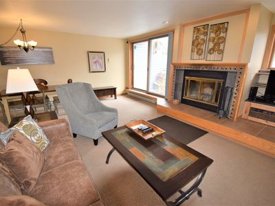 Photo for Short walk to Mountain House Lifts.  Mtn/slope views. Wood fireplace w/ wood provided! Indoor pool & hot tub, garage, in-unit washer/dryer