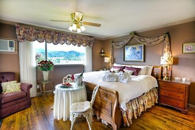 Regal View Jacuzzi Suite is on the top floor, has a king bed and a private covered deck.