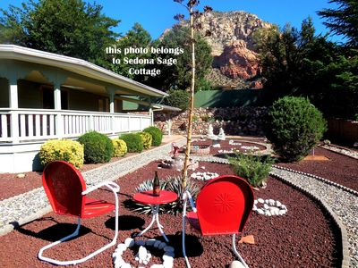 Take in a breathtaking view of Thunder Mountain from the xeriscaped yard